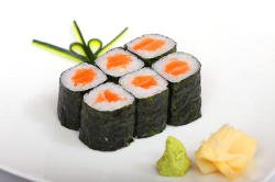 Sushi pressentation with wasabi and ginger